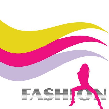 mode en sexy roze meisje vector silhouet illustratie