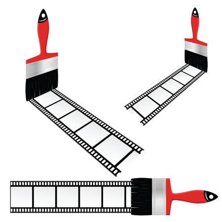 cinematograph: cinta de la pel�cula con el cepillo de color ilustraci�n vectorial