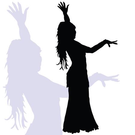 flamencodans vrouw silhouet op een witte achtergrond Stock Illustratie