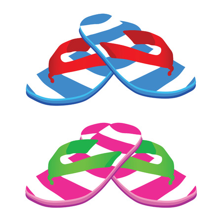 footware: flip flop male and female vector illustration on a white background Illustration