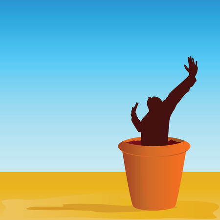 flowerpot with man vector illustration Vector