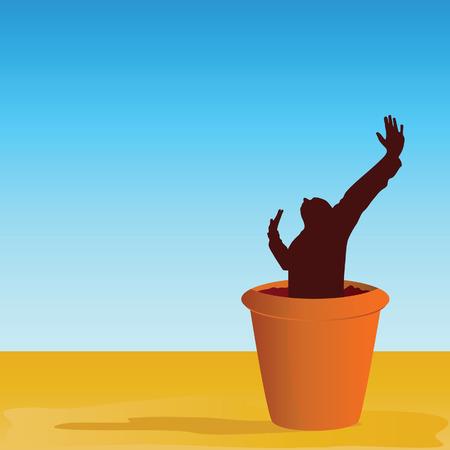 peat: flowerpot with man vector illustration Illustration