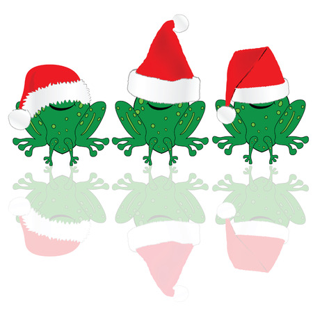 christmas frog: frog with red christmas hat illustration on white Illustration