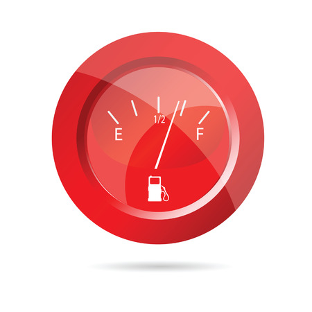 fuel gauge red icon vector illustration on white Illustration
