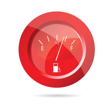 panel de control: indicador de combustible icono rojo ilustración vectorial en blanco