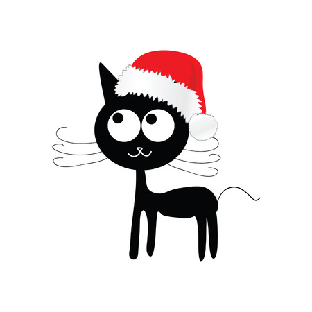 funny and cute cat with red christmas hat vector illustration Vector