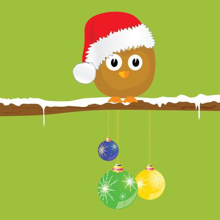 funny animal: funny animal with christmas balls on the snow vector illustration Illustration