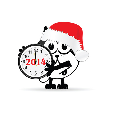 funny animal with new year clock vector illustration Vector