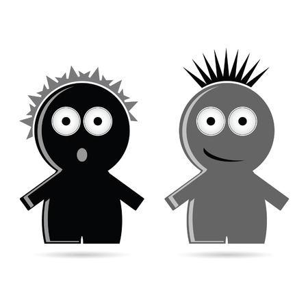black people: funny grey and black people icon vector illustration