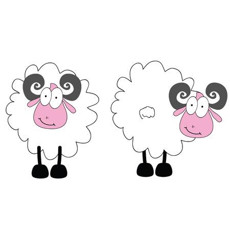 funny ram animal with big eye vector Vector