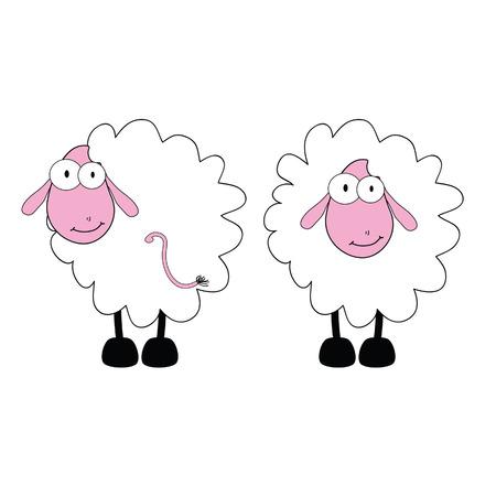 sheep eye: funny sheep with big eye vector illustration
