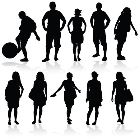 meisje en de man vector silhouet illustratie
