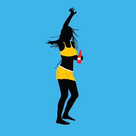 meisje en party silhouet vector illustratie