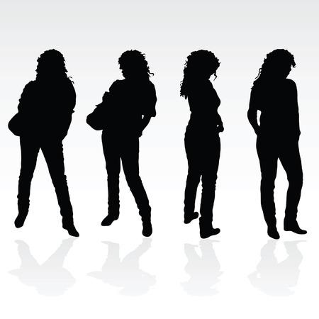 meisje zwarte poseren silhouet op een witte achtergrond