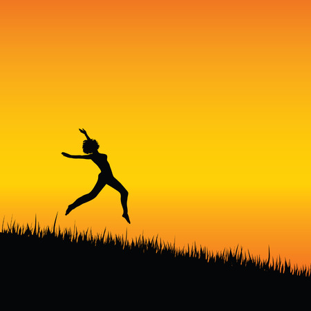 sexes: girl black silhouette jumping illustration with grass Illustration