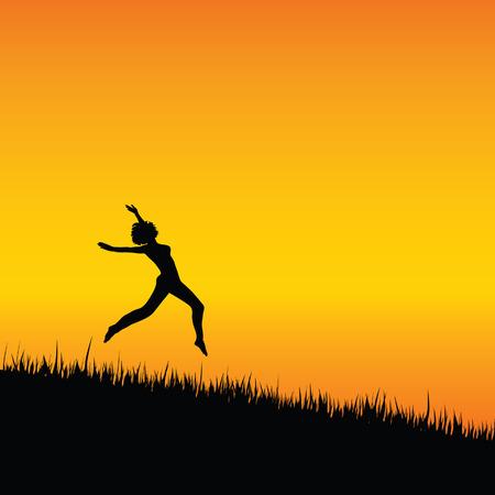meisje zwarte silhouet springen illustratie met gras