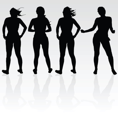 sexes: girl four silhouette black art vector illustration