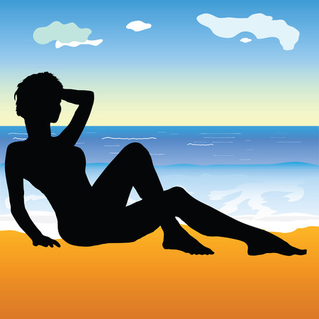 sexes: girl on the beach illustration art vector