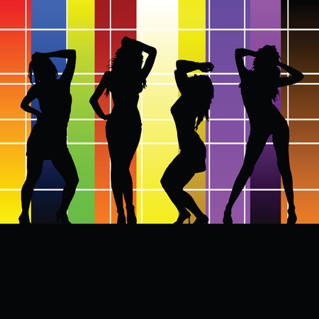 sexes: girl with color wall vector illustration
