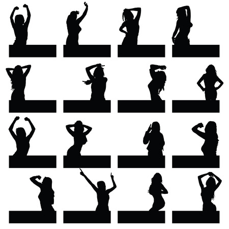 sexes: girl in various poses on black silhouette Illustration