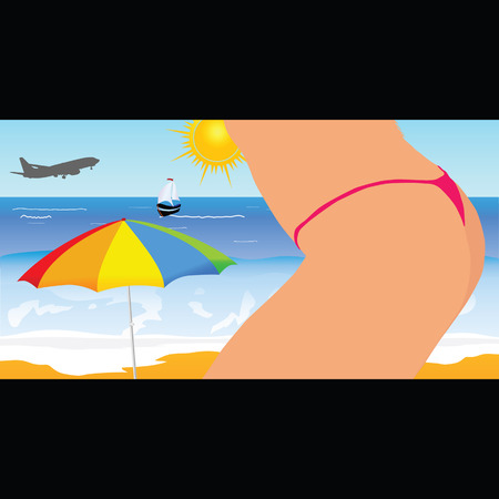 sexes: girl on the beach vector illustration part four