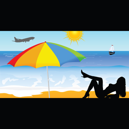 sexes: girl on the beach vector illustration part two