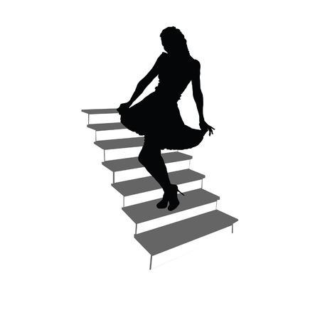 woman stairs: girl posing on the stairs black silhouette Illustration