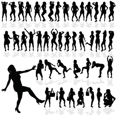 sexes: girl sexy vector in black silhouette on white background