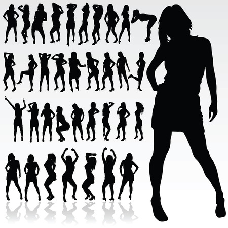 sexes: girl silhouette in black color art vector illustration