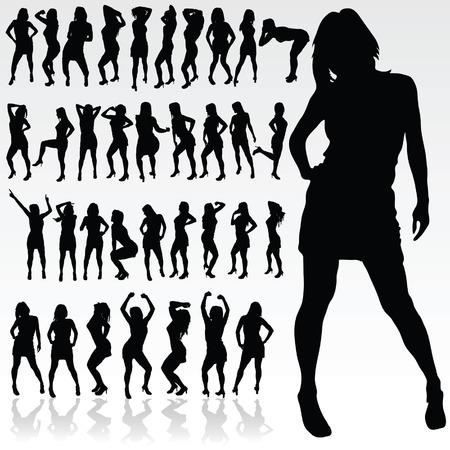 meisje silhouet in zwarte kleur kunst vector illustratie