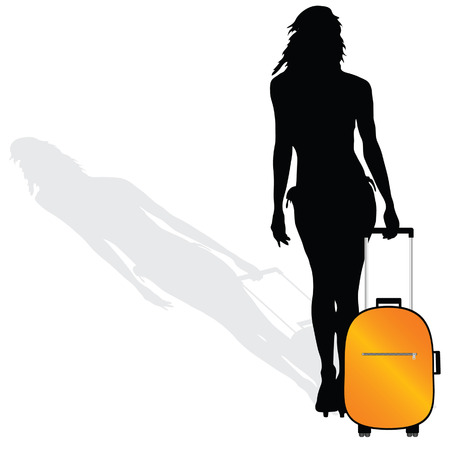 schoonheid en sexy meisje met een koffer vector silhouet op een witte achtergrond