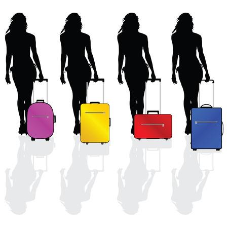 meisje heet en sexy met een koffer vector silhouet illustratie