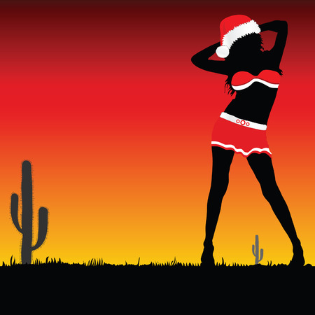 sexes: girl with christmas hat vector part two