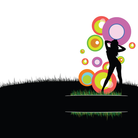 sexes: girl with circle in nature vector illustration
