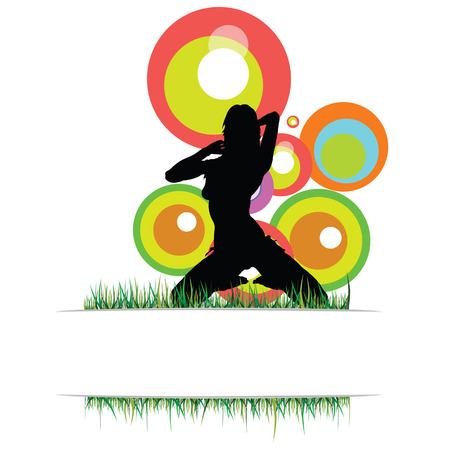 sexes: girl with grass vector silhouette illustration on a white background