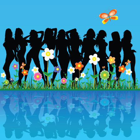 sexes: girls among the flowers and butterflies vector illustration on a blue background