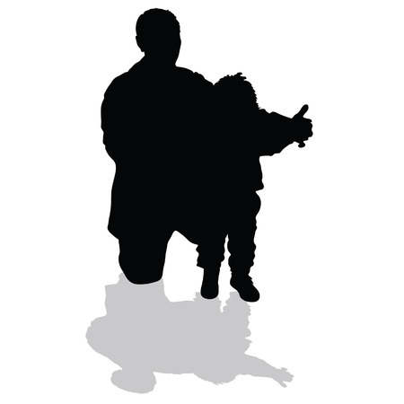 grandfather holding his granddaughter art black silhouette