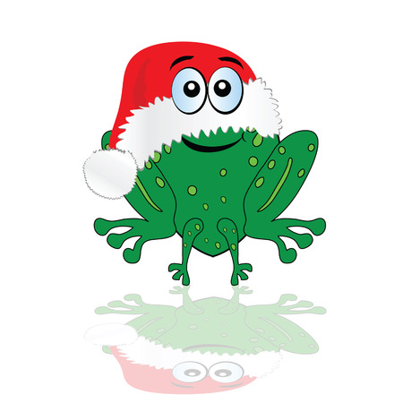 christmas frog: green frog with christmas red hat vector illustration Illustration