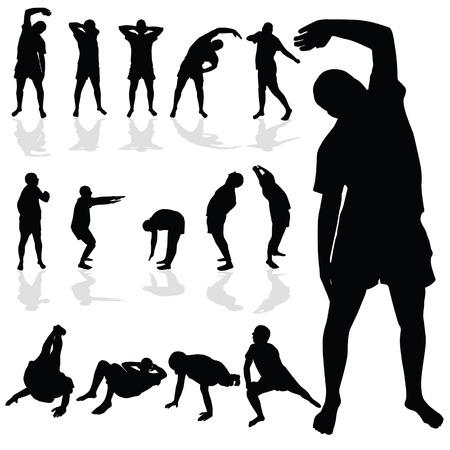 gymnastic man black silhouette art vector illustration