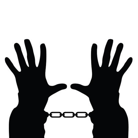 手錠ベクトル シルエット白地に手  イラスト・ベクター素材