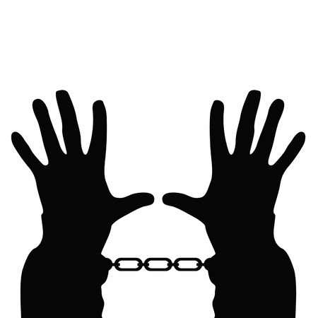 ligotage: mains dans les menottes vecteur silhouette sur blanc