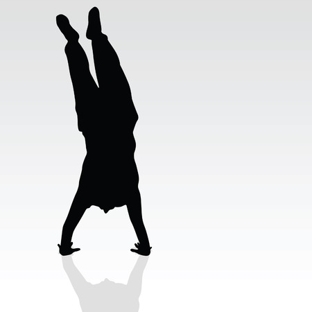 handstand: handstand black silhouette art vector on gray background