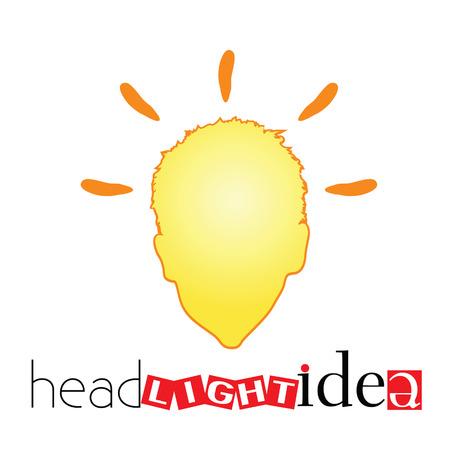 inovation: head light idea art vector illustration with human head illustration Illustration