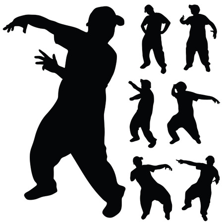 hip hop silhouette: hip hop dancer silhouette on white background