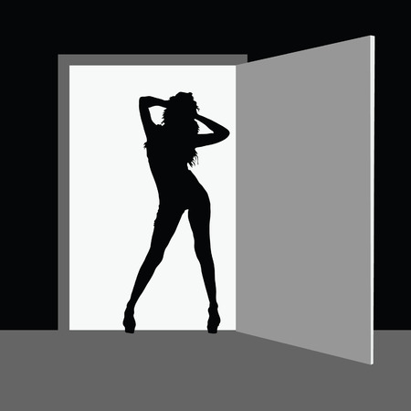 sexes: hot girl fron the door vector silhouette illustration on a black background