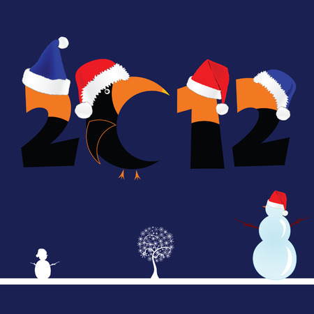 clicker: illustration of 2012 with tree and snowman on blue