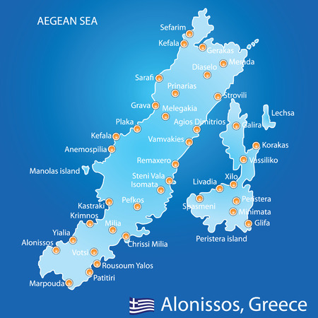 aegean: Island of Alonissos in Greece map on blue background