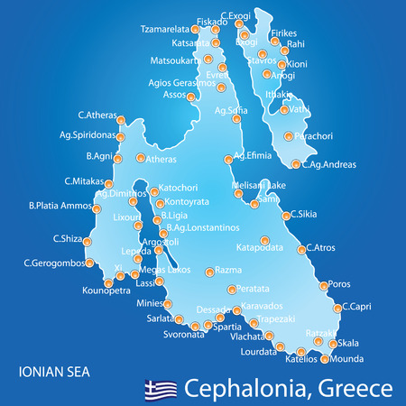 Island of Cephalonia in Greece map on blue background Vector