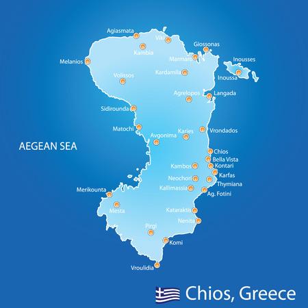 青い背景地図ギリシャのキオス島  イラスト・ベクター素材