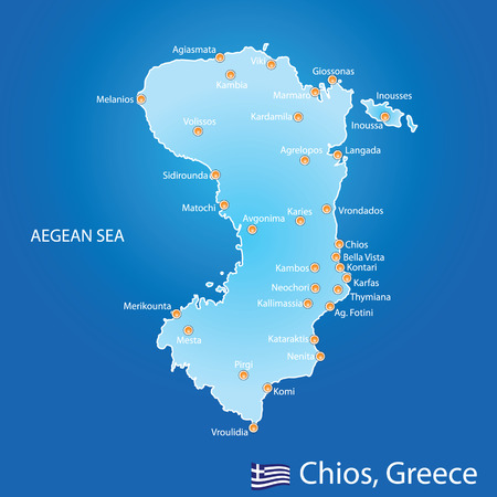 Island of Chios in Greece map on blue background Vector